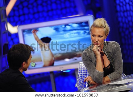 MADRID - MAY 20: TV host Pablo Motos interviews singer Kate Ryan at the Spanish TV show \