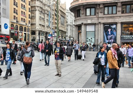 MADRID OCTOBER 24 People shop downtown on October 24 2012 in Madrid Madrid is a popular tourism destinations with 3.9 million estimated annual visitors official data