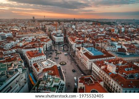 Madrid Puerta del Sol aerial view with historical buildings in Spain. Foto stock ©
