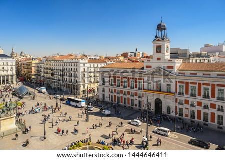 Madrid Spain, aerial view city skyline at Puerta del Sol Foto stock ©