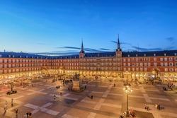 Madrid Spain, aerial view night city skyline at Plaza Mayor