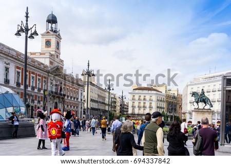 MADRID, SPAIN - April 20, 2017: Tourists on foot Graben Street Madrid