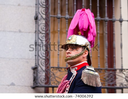 MADRID, SPAIN - APRIL 1: traditional processions of Hole Week in the streets on April 1, 2010 in Madrid, Spain. Municipal soldier in dress uniform