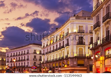 Madrid Spain at sunset - architecture background