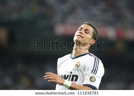 MADRID, SPAIN - AUGUST 29: Cristiano Ronaldo during the Supercopa, Real Madrid vs FC Barcelona, on August 29, 2012 at the Santiago Bernabeu Stadium.