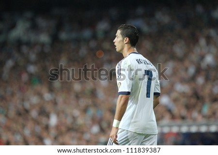 MADRID SPAIN AUGUST 29 Cristiano Ronaldo during the Supercopa Real Madrid vs FC Barcelona on August 29 2012 at the Santiago Bernabeu Stadium.