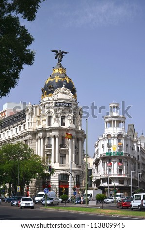 MADRID, SPAIN-AUGUST 20: Metropolis building situated on representative Gran Via street on August 20, 2012 in Madrid, Spain. It was built in the twenties of XX century.