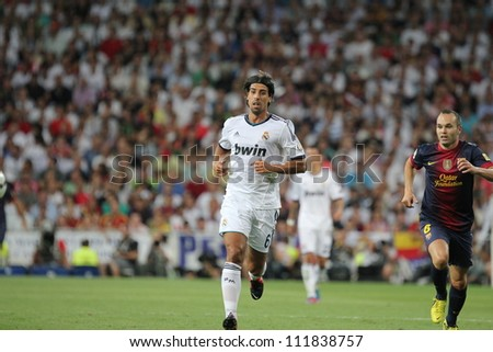 MADRID, SPAIN - AUGUST 29: Sami Khedira during the Supercopa, Real Madrid vs FC Barcelona, on August 29, 2012 at the Santiago Bernabeu Stadium.