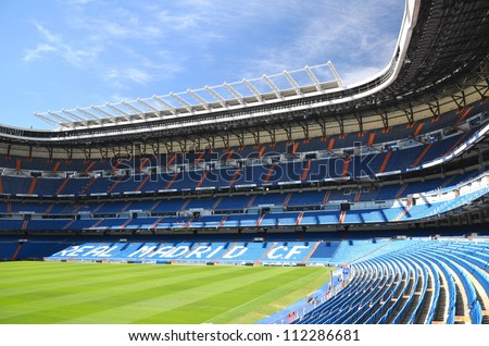 MADRID, SPAIN - AUGUST 25: Santiago Bernabeu Stadium of Real Madrid on August 25, 2012 in Madrid, Spain. Real Madrid C.F. was established in 1902. It is the best club of XX century according to FIFA.
