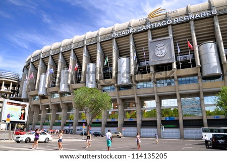 MADRID, SPAIN-AUGUST 25:Santiago Bernabeu Stadium of Real Madrid on August 25, 2012 in Madrid, Spain. Real Madrid C.F. was established in 1902. It is the best club of XX century according to FIFA.