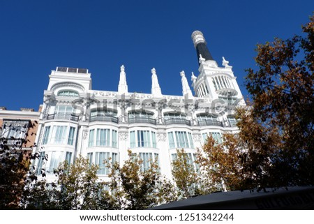 Madrid, Spain; December 2018: Barrio de las Letras: this neighborhood has become a trendy spot; keep an eye out for boutiques, art galleries, bookstores and antique shops that make it so authentic. #1251342244