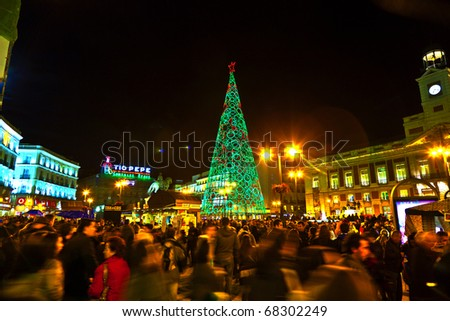 Madrid spain december 22 people have fun in christmas time the