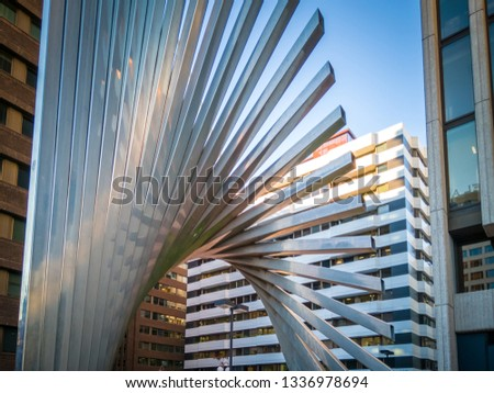 Madrid / Spain - February 7, 2019: The skyscrapers in Negocenter a business center in Paseo De La Castellana in Madrid, Spain, Europe. #1336978694