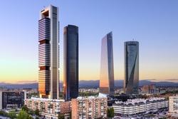Madrid, Spain financial district skyline at dusk.