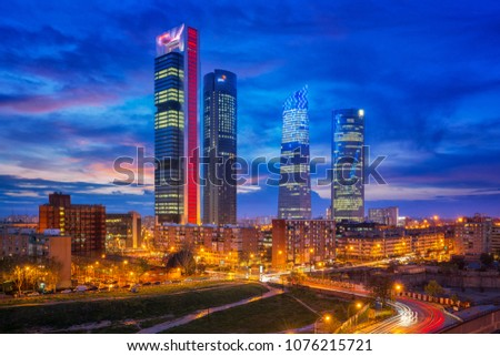 Madrid, Spain financial district skyline at twilight in madrid city. #1076215721