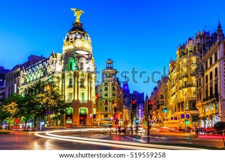 stock photo madrid spain gran via main shopping street at dusk 519559258 - Каталог — Фотообои «Улицы, переулки»