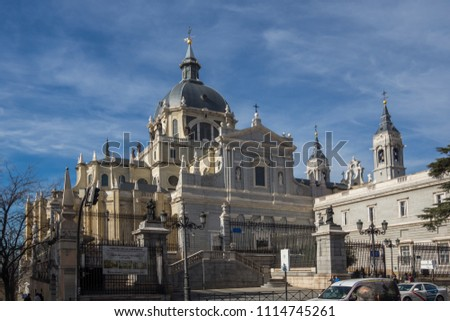 MADRID, SPAIN - JANUARY 23, 2018:  Amazing view of Almudena Cathedral in City of Madrid, Spain #1114745261