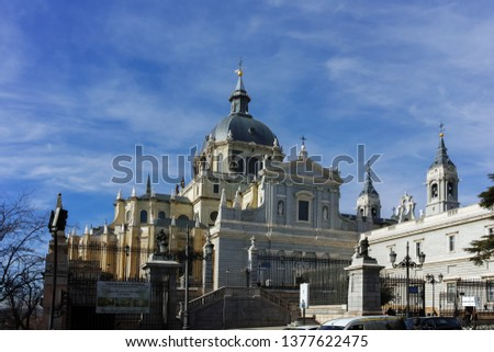 MADRID, SPAIN - JANUARY 23, 2018:  Amazing view of Almudena Cathedral in City of Madrid, Spain #1377622475