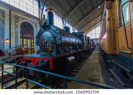 MADRID, SPAIN - 27 MARCH, 2018: Museum of trains Madrid exposition of railway equipment service equipment and history of development.