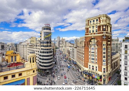 MADRID SPAIN OCTOBER 15 2014 Gran Via at the Iconic Schweppes sign The street is the main shopping district of Madrid