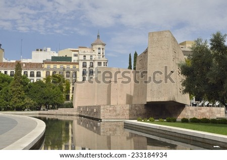 MADRID, SPAIN - OCTOBER, 18: Monument to the Discovery of America at Plaza Columbus on October 18, 2014 in Madrid, Spain. It is a work of Vaquero Turcios, a painter, sculptor and architect Spanish.