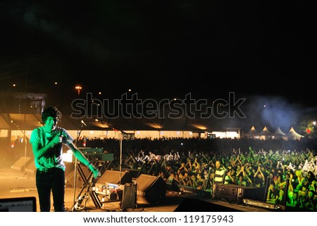 MADRID, SPAIN - SEPT 15: The Kooks band performs at Complejo Deportivo Cantarranas on September 15, 2012 in Madrid. Dcode Festival.