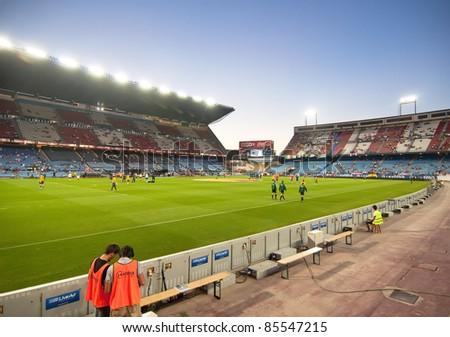 MADRID, SPAIN-SEPT. 18: Vicente Calderon soccer stadium during a soccer game Atlético Madrid vs. Racing Santander on Sept. 18, 2011 in Madrid, Spain. Atlético Madrid won 4-0.