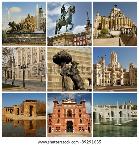 Madrid. Symbols of the capital of Spain. Plaza Mayor, Almudena, Debod Temple, Arena Las Ventas, Puente de Segovia / Segovia Bridge and fountains on river Manzenares.