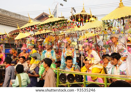 MAE HONG SON, THAILAND-APRIL 5: Poi Sang long festival, a ceremony where boys become novice monk, during in parade around township on April 5,  2011 in Mae hong son, Thailand.