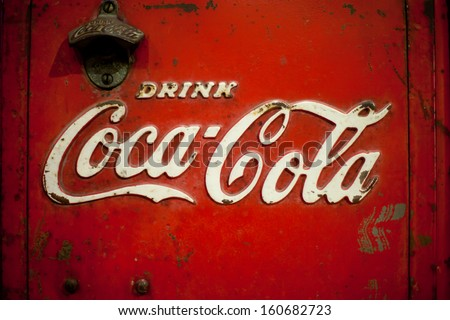 MAEHONGSORN,THAILAND -OCT 27: Old rust condition vintage of Coca Cola logo. on October 27, 2013 in Maehongsorn Thailand.