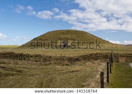 Maeshowe chambered cairn. The finest chambered tomb in north-west Europe and more than 5000 years old.  Part of the Heart of Neolithic Orkney World Heritage Site.