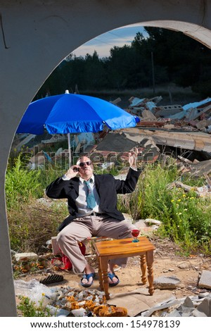 Mafia type of guy amidst  construction rubble, a concept