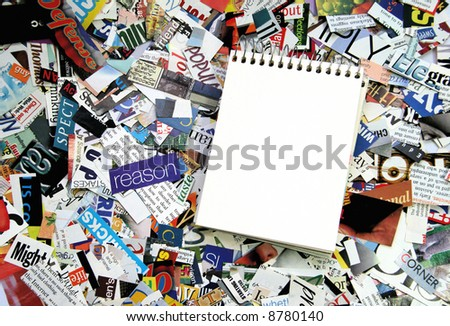 Magazine Clipping Background and note pad
