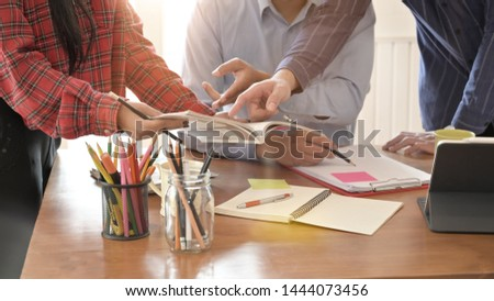 Magazine Editor working and meeting on creative workplace. Photo stock ©