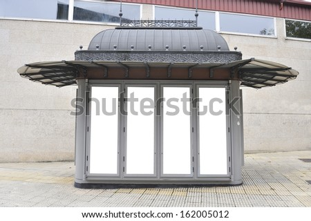 magazine kiosk or newsstand in blank billboard for the user to modify. Advertising in blank