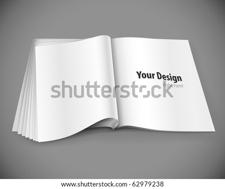 magazine page with design layout vector illustration on gray background