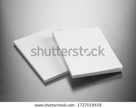 Magazine Pair - Blank White Cover Of Magazine on Metallic Surface. Mock Up Template of Magazine, Book, Brochure, Booklet. 3d Rendering