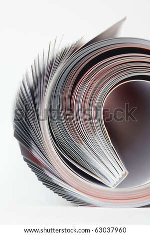 Magazine roll on white background