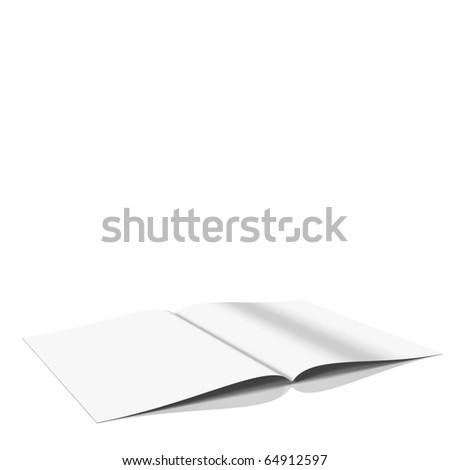 Magazine with blank pages at white background