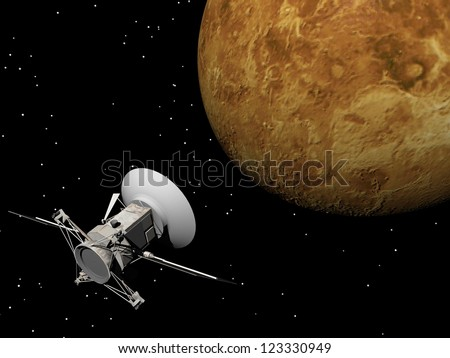 Magellan spacecraft near Venus planet by night - Elements of this image furnished by NASA