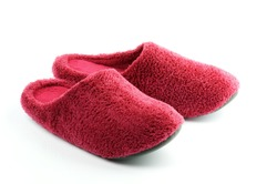 Magenta Fleece Men's Room Shoes isolated on white background