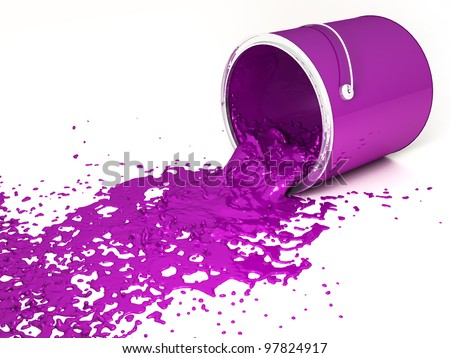 Magenta paint bucket upside down on a white background.