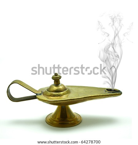 magic aladin lamp on a white background: 3 wishes free