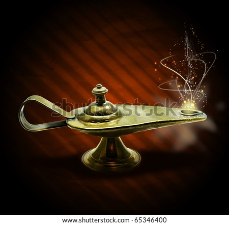 magic aladin lamp with magic smoke and sparkles on a brown background: 3 wishes free