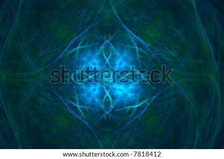 Magic background made of dark green and vivid blue colors over black