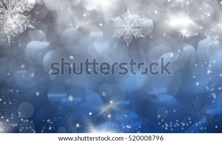 Magic blue holiday abstract glitter background with blinking stars and falling snowflakes. Blurred bokeh of Christmas lights. #520008796