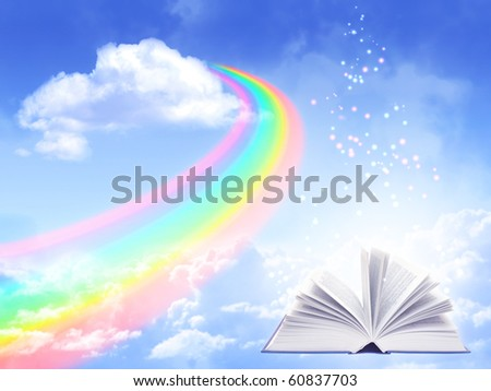 Magic book and rainbow