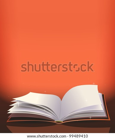 Magic Book Background/ Illustration of a cartoon magic open red book for fairy tales or prayer background