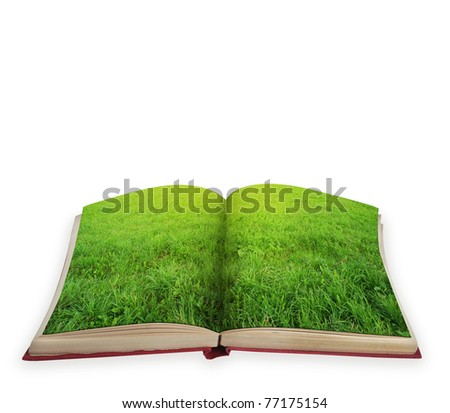 Magic book concept with green grass isolated