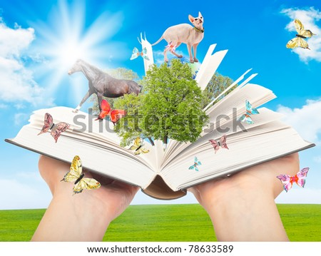 Magic book in human hands with a green tree and the rays of light on the background of nature. Symbol of knowledge.